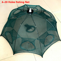Strengthened 4 20 Holes Automatic Fishing Net Shrimp Cage Nylon Foldable Crab Fish Trap Cast Net