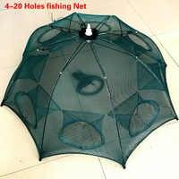 Wzmocnione 4-20 otworów automatyczna sieć rybacka klatka dla krewetek nylonowa składana kraba ryba pułapka obsada netto obsada składana sieć rybacka