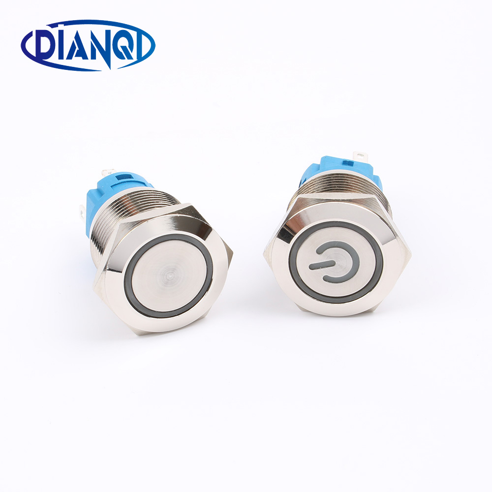 New type 19mm Waterproof Momentary latching Stainless Steel Metal Doorbell Bell Horn Push Button Switch LED Car Auto Engine PC 1pc 6pin 25mm metal stainless steel momentary doorebll bell horn led push button switch car auto engine start pc power symbol