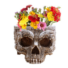 P-Flame Hand Carved Flower Pot Human Skull Planter Garden Container Macetas Modern Home Decor For Decoration(China (Mainland))