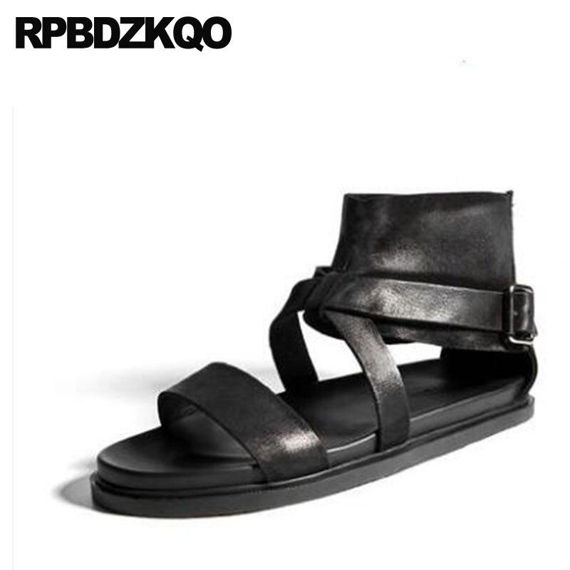 Genuine Leather 2018 Roman Summer Black Designer Large Size Strap Boots 45 High Quality Sandals Men Gladiator Outdoor Platform