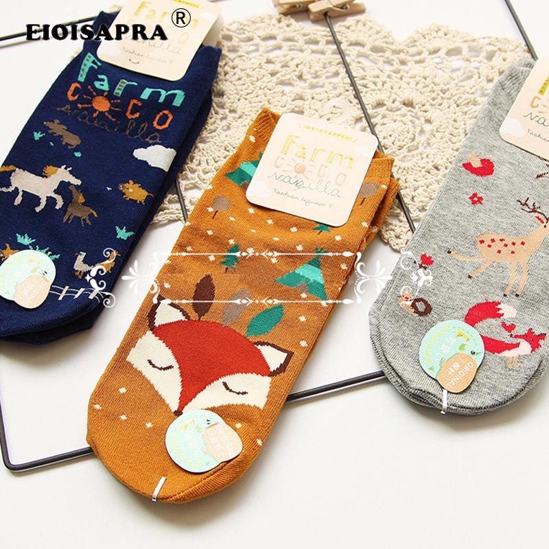 [EIOISAPRA]Fashion Creative Kawaii Zoo Cotton Printing Women Socks Art Spring/Summer Milu Deer Fox Horse Lovely Calcetines Mujer