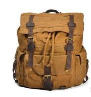 Mens Military Canvas Leather Travel Large Capacity Men Backpack Rucksack School Bag Satchel BAOK 5205