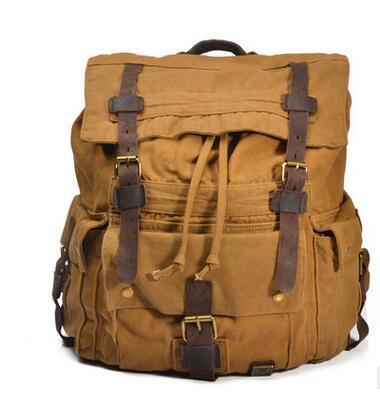 Mens Military Canvas <font><b>Leather</b></font> Travel Large Capacity Men <font><b>Backpack</b></font> Rucksack School Bag Satchel BAOK-5205