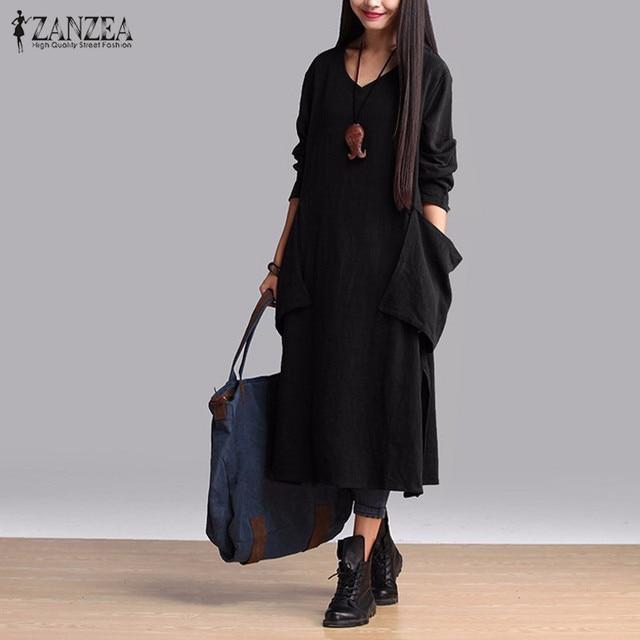 ZANZEA Мода Осень Платье 2016 Женщин Хлопка Случайные Свободные Длинные Платья С Длинным Рукавом V Шеи Vestidos Плюс Размер S-5XL