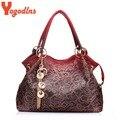 Горячая марка женщины сумки выдалбливают ombre сумка цветочный принт shoudler сумки дамы pu кожа сумка красный/серый/синий