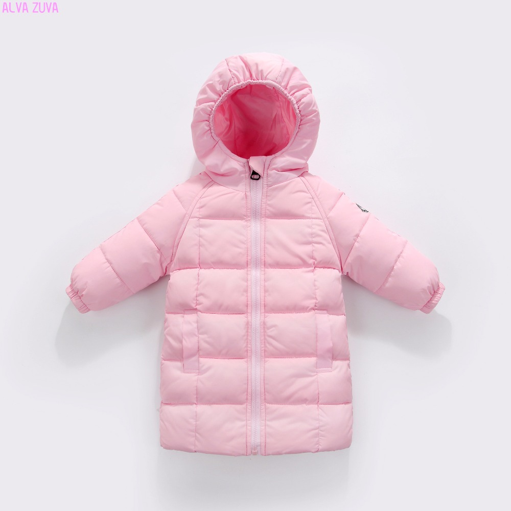 ALVA ZUVA New 2017 Children Medium Long Down jacket Baby Boys Girls Parka Coats Jackets Kids Winter Outerwear Clt318 цена 2017