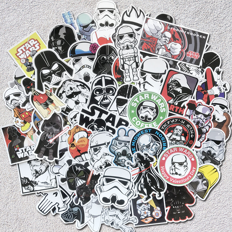 AQK 50Pcs Star Wars Stickers For Kids DIY Creative Graffiti Sticker For Skateboard Luggage Laptop Guitar Fridge Car Doodle Decal