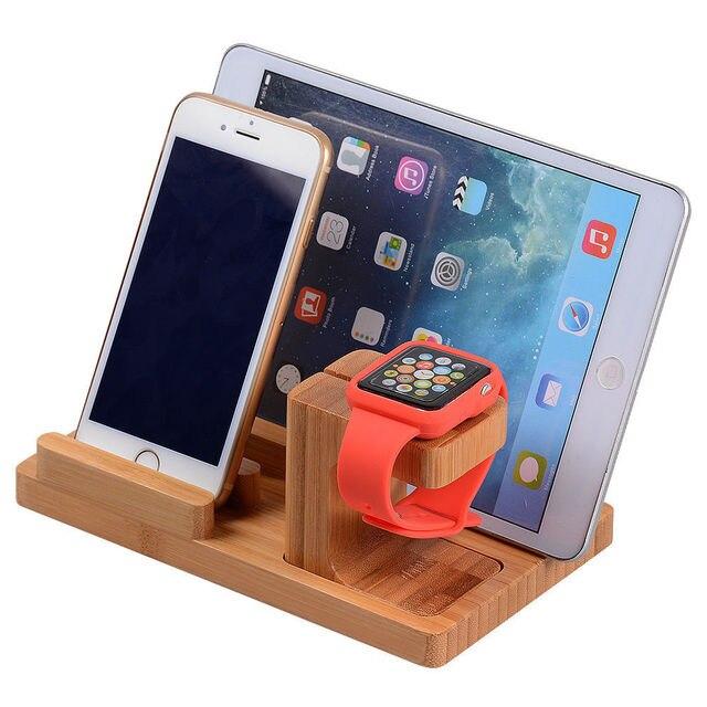 Novo 3-em-1 de bambu suporte de mesa carregador dock station para apple watch 38mm 42mm série 2 iphone 7 plus 6 6 s ipads frete grátis