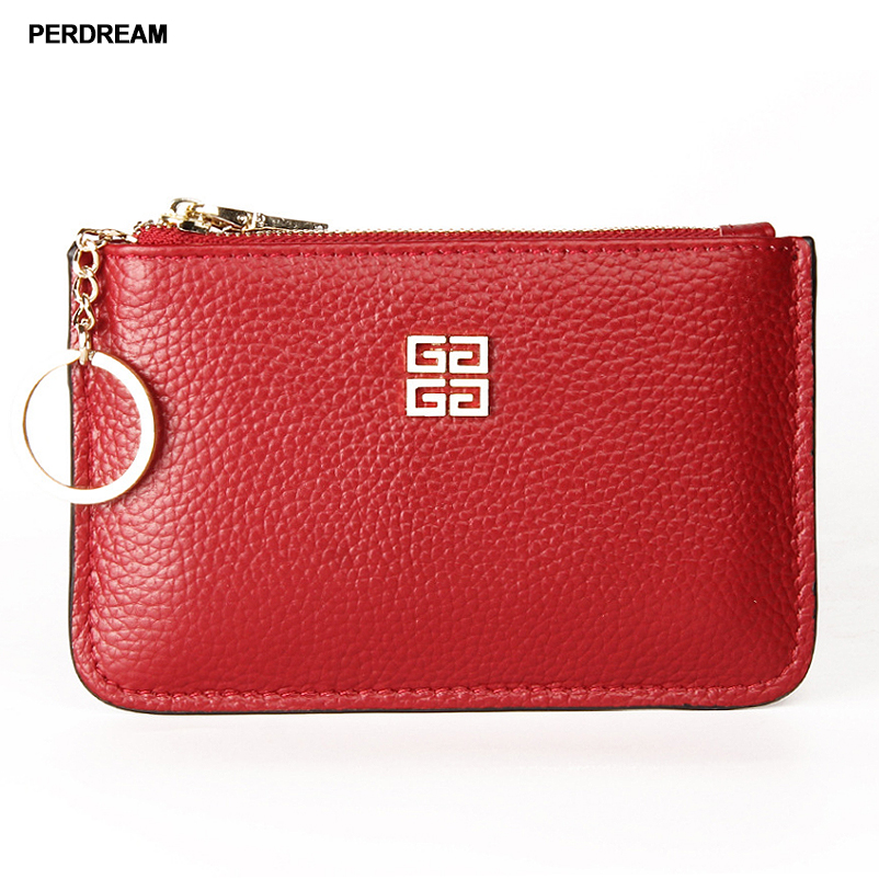 First Layer Cowhide European And American Big Ladies Leather Short Coin Purse Zipper Mini Pebbled Pattern With Ring Key Case