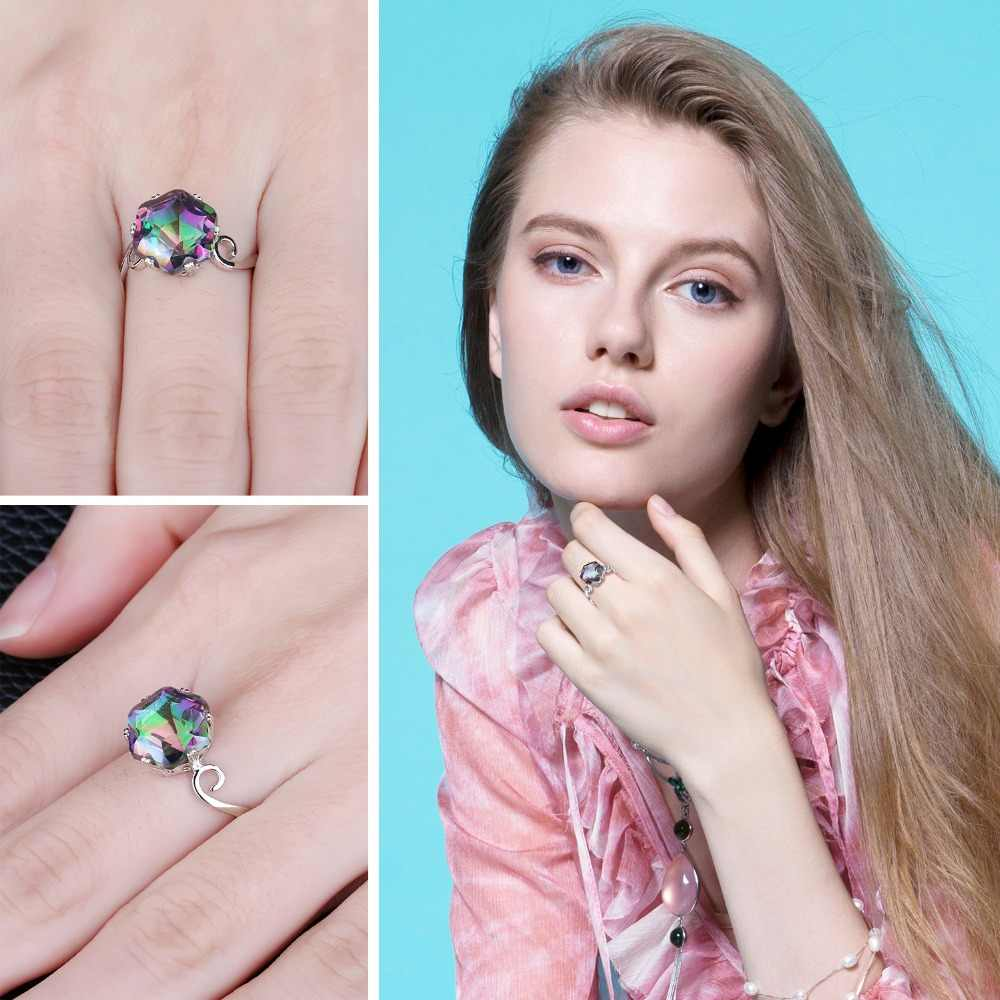 Moonstone 3.2ct ของแท้สายรุ้งการเปลี่ยนสีไฟ Mystic Topaz แหวน 925 anillos แหวนเงินของขวัญผู้หญิงงานปาร์ตี้เต้นรำ