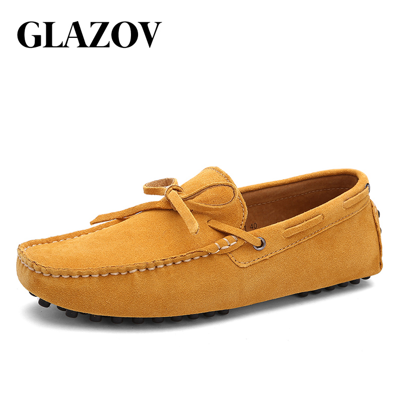 GLAZOV Brand Big Size 38-49 Cow Suede Leather Men Flats New Men Casual Shoes High Quality Men Loafers Moccasin Driving Shoes 2018 hot sale men shoes suede leather big size high quality fashion men s casual shoes european style mens shoes flats oxfords