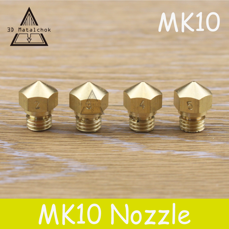 Hot sale 1pcs 3D printer M7 Brass Copper MK10 Nozzle 0 2mm 0 3mm 0 4mm