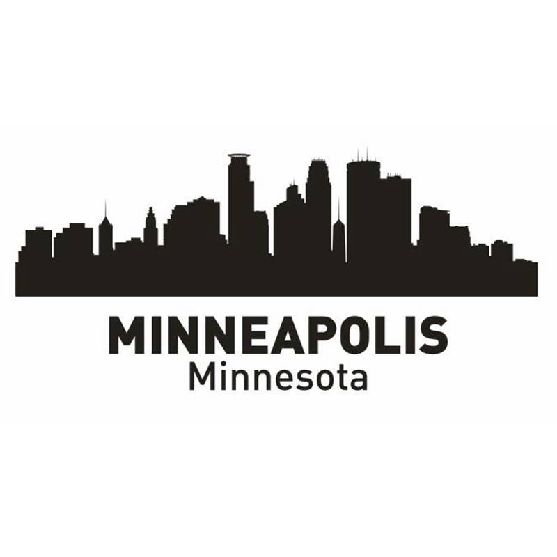 DCTAL MINNEAPOLIS City Decal Landmark Skyline Wall Stickers Sketch Decals Poster Parede Home Decor Sticker