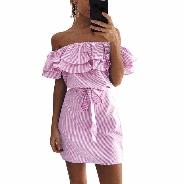 Оборками платье летнее 2017 женщин полосой печати с плеча эластичный slash шеи мини платье tie плюс размер повседневная beach party платья сарафан платье женское летние платья пляжное платье