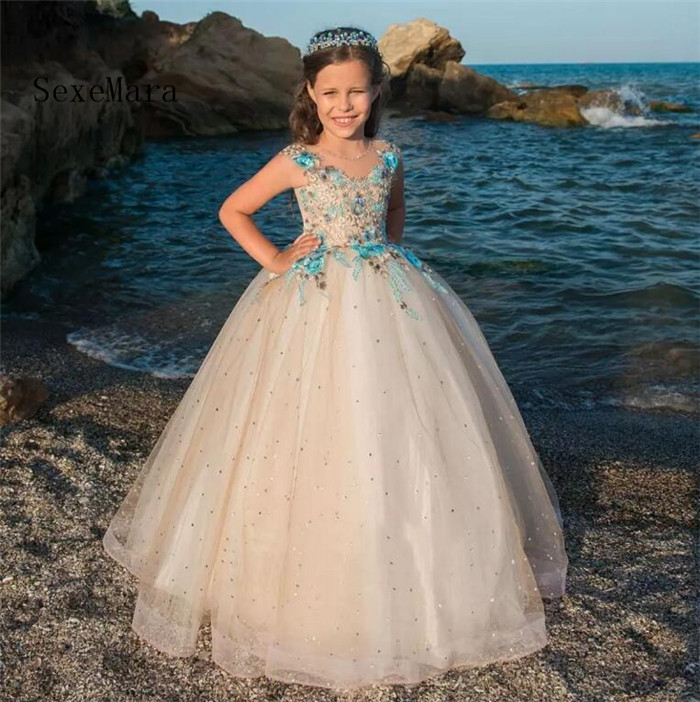 Ball Gown Flower Girl Dresses Sheer Jewel Neck Embroidery Girls Pageant Dress Floor Length Cap Sleeves Crystal Pageant Gowns cat