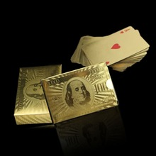 High Quality New Poker cards Golden Foil Plated Gift Playing Cards Game Deck Collection US Dollor