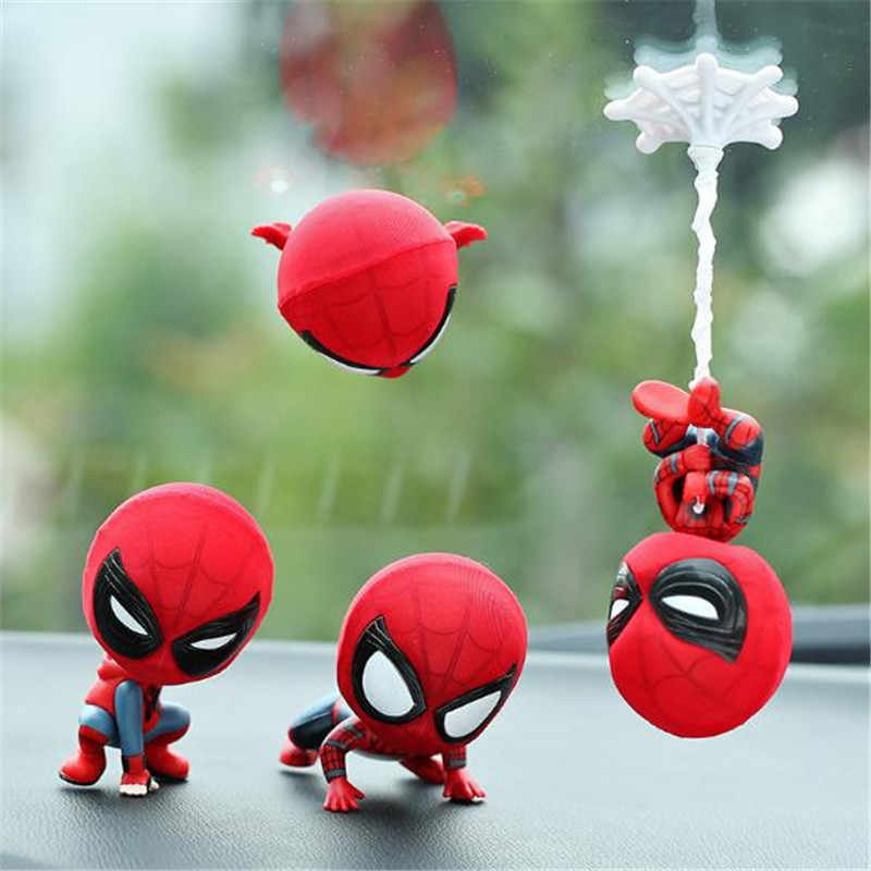 MR TEA Spiderman Model Shake Head Toy Resin Car Ornament Auto Interior Dashboard Decoration Doll Accessories Gift For Marvel