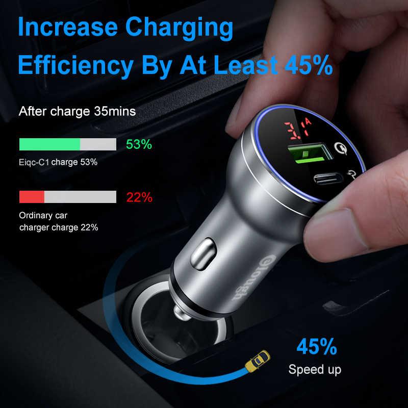 Elough 45W cargador de coche para iPhone Samsung Xiaomi Huawei encendedor Quick Charge 4,0 de 3,0 dual USB tipo C coche cargador de teléfono