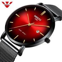 NIBOSI Mens Watches Top Brand Luxury Gold Quartz Men Watch Mesh Strap Casual Sport Waterproof Male Clock Relogio Masculino 2019