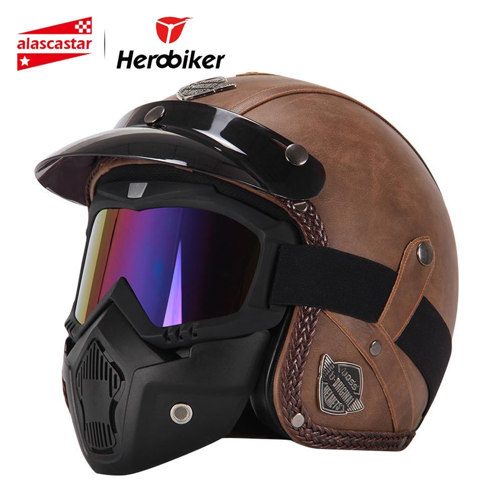 Nouveau Rétro Vintage Style Allemand Moto Casque 3/4 casque ouvert Quatre Saisons Cruiser Biker Moto Casque avec Lunettes Masque
