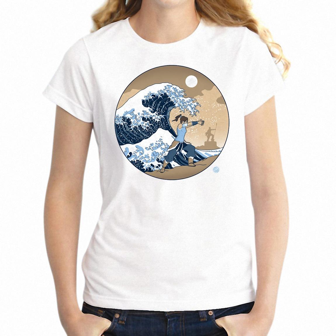 Women's T Shirt Great Wave Off Kanagawa The Legend of Korra Anime Lebien Badass Girl's Tee