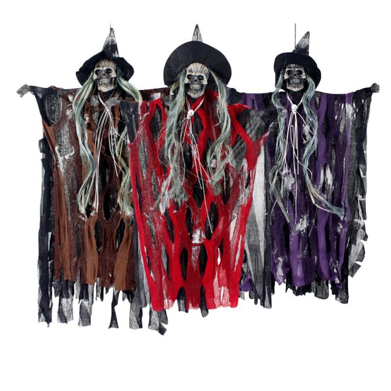 Halloween Hanging Skull Prop Sound Activated Skeleton