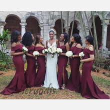 Floor Length Burgundy Mermaid Bridesmaid Dresses Maid Of Honor 2019 Sexy Off Shoulder Spaghetti Strap Long Party Dress vestido sexy off shoulder lace applique beaded maid of honor party gowns 2018 cheap burgundy mermaid long bridesmaid dresses