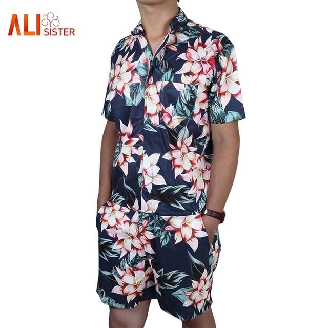 c882cc7b8a2 2019 Creative Floral Print Men s Rompers Short Sleeve Zipper Jumpsuit  Playsuit Plus Size Hip Hop Casual Party One Piece Romper