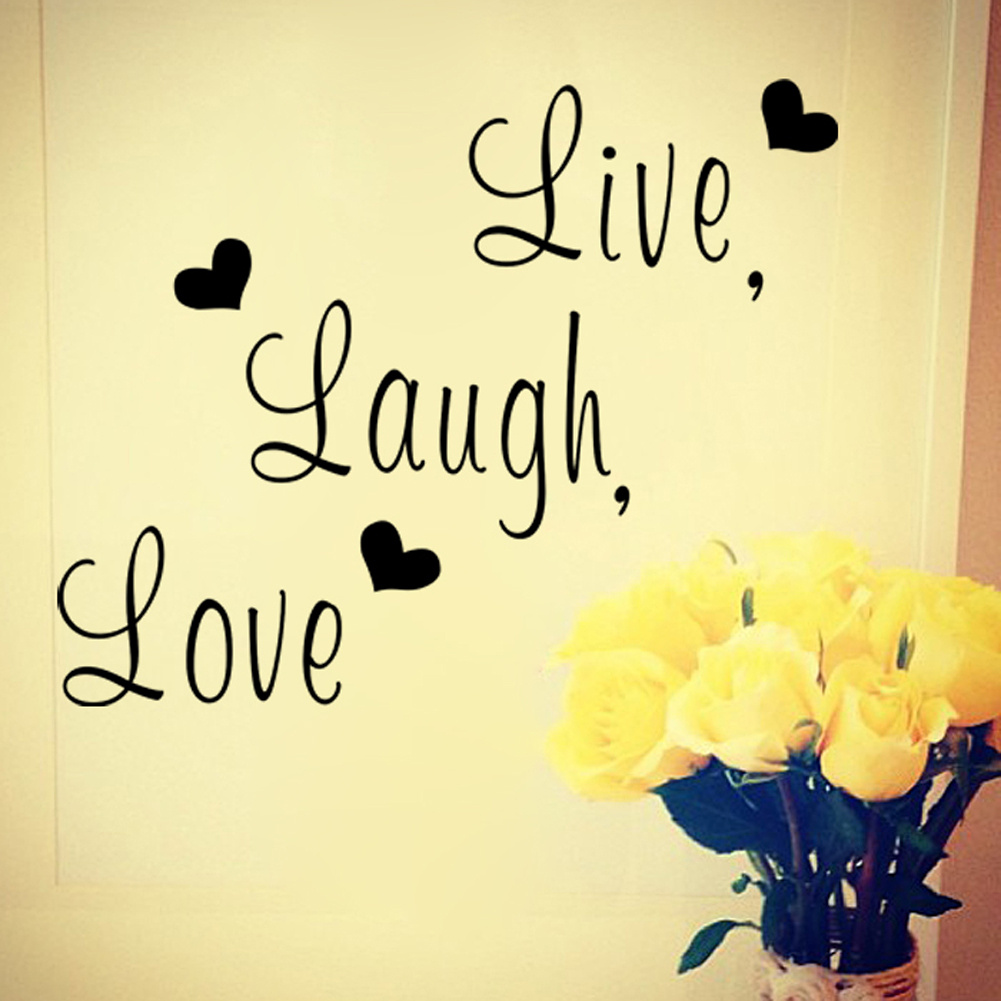 Removable Black Live Laugh Love English Letter Heart Home Bedroom ...