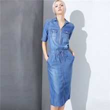 2017 spring summer half sleeve top quality washed white sofe blue denim dress split mid-calf jean dresses for women plus size xl