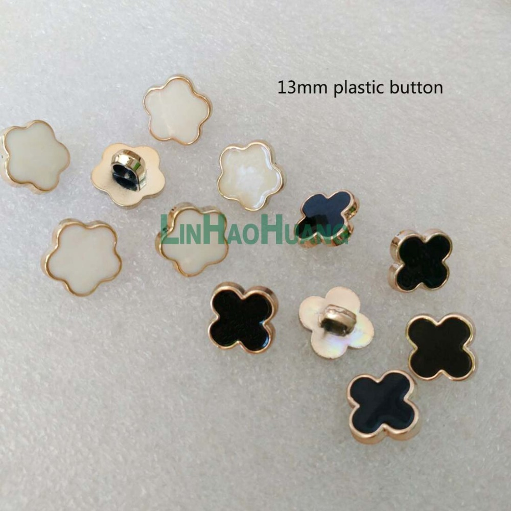 300pcs/lot 13mm plastic sewing button gold with lacquer flower shape dress coat shank buttons black white free shipping