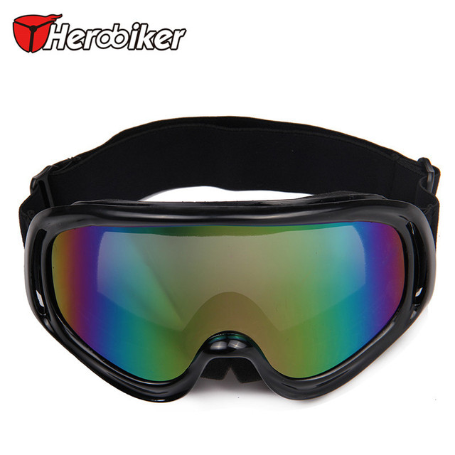 HEROBIKER Men Women Outdoors Sports Ski Snowboard UV400 Glasses Motorcycle Riding Goggles Motocross Off-Road Eyewear, Black