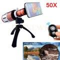 50X de Metal Kit de Lentes Zoom Telefoto Telescópio Lente Da Câmera Tripé Para samsung iphone 6 s 5 s 7 bluetooth do obturador controle remoto