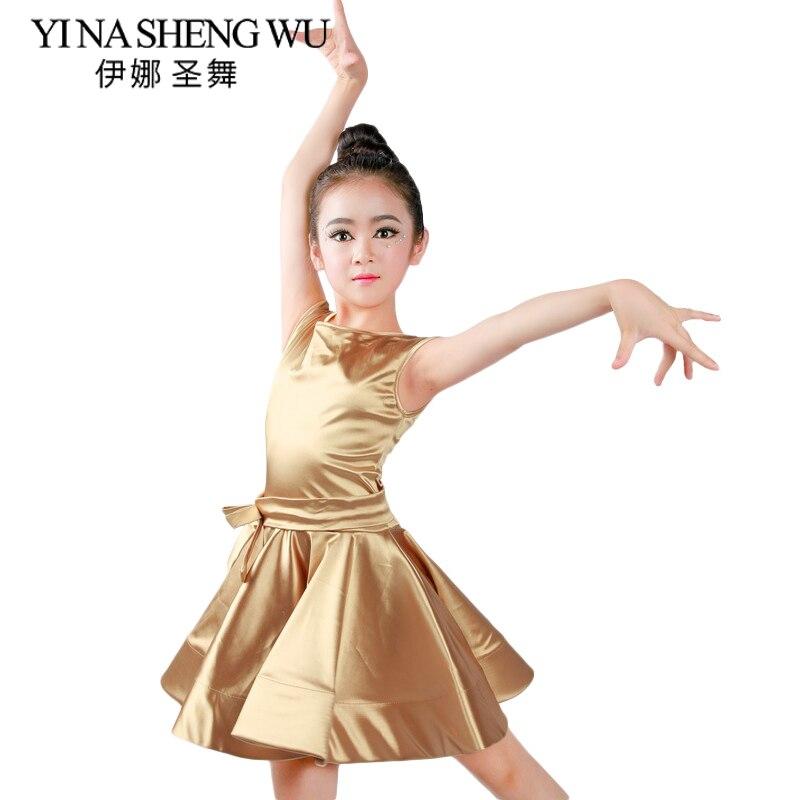 New Girls Latin Dance Clothing Sleeveless Shiny Satin Children Latin Dance Dress Professional Latin Competition Dance Costumes