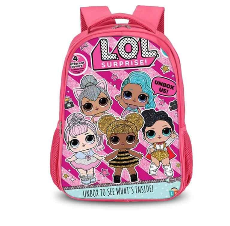 2b348c219145 Student Kids Cartoon LOL Dolls School Bag Pink Backpack For Girls Schoolbag lol  dolls glitter Book