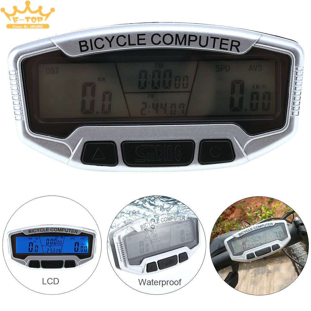 Cycling Wired Waterproof LCD Dispaly Blue Backlight Bicycle Computer Odometer Speedometer Velometer