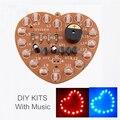 2 unids Kit DIY Kits de Música Flash de Luz 18 LEDs Rojos En Forma de Corazón Verde de Doble Color Flashing Feliz cumpleaños Regalo de La Música Electrónica