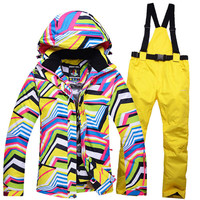 Cheap Skiing Clothing Zebra Crossing Women Ski Suit Sets Skiing Snowboard Costume Windproof Therma Ski Outdoor