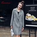 Quintina 2017 New Fashion Striped Long Style Wool Blended Winter Coat Women Turn Down Collar Slim Female Overcoat Wool Coat