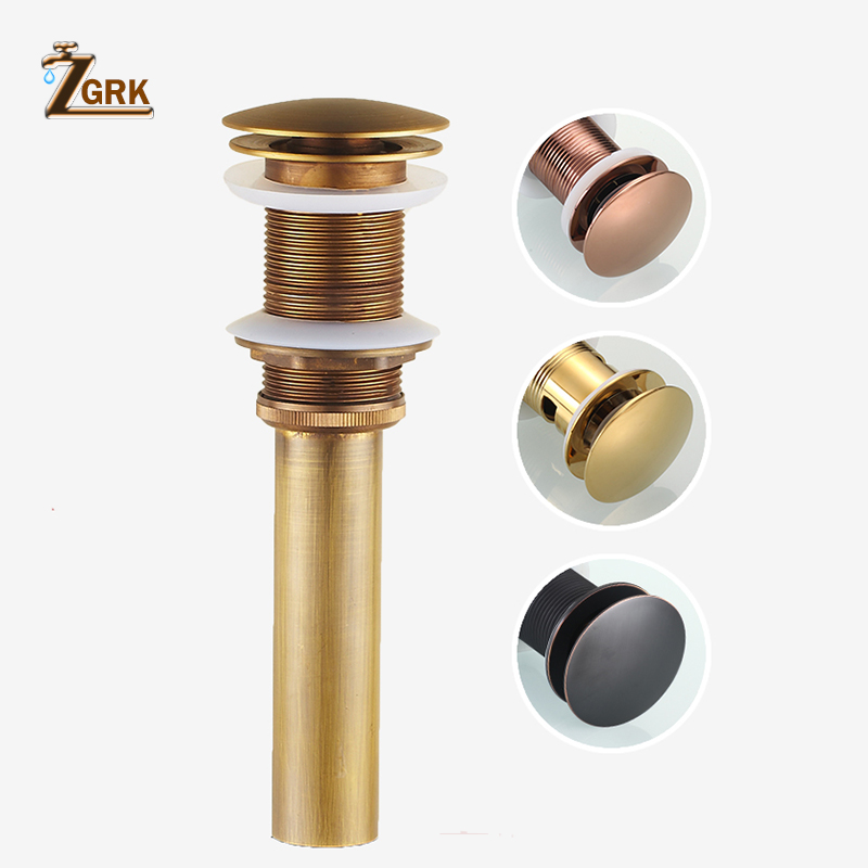 ZGRK New Antique Brass Chinese Dragon Style Bathroom basin waste Pop Up Waste Vanity Vessel Sink Drain Without Overflow(China)