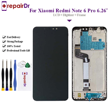 цена 100% Test For Xiaomi Redmi Note 6 Pro LCD Display Touch Screen Digitizer Assembly + Frame For Xiaomi Redmi Note 6 Pro LCD Screen