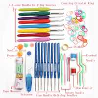 1 Set 16 sizes Crochet Hook Set Aluminum Ergonomic Crochet Needles with Colorful Soft Rubber Grip Weave Craft Yarn Sewing Tools