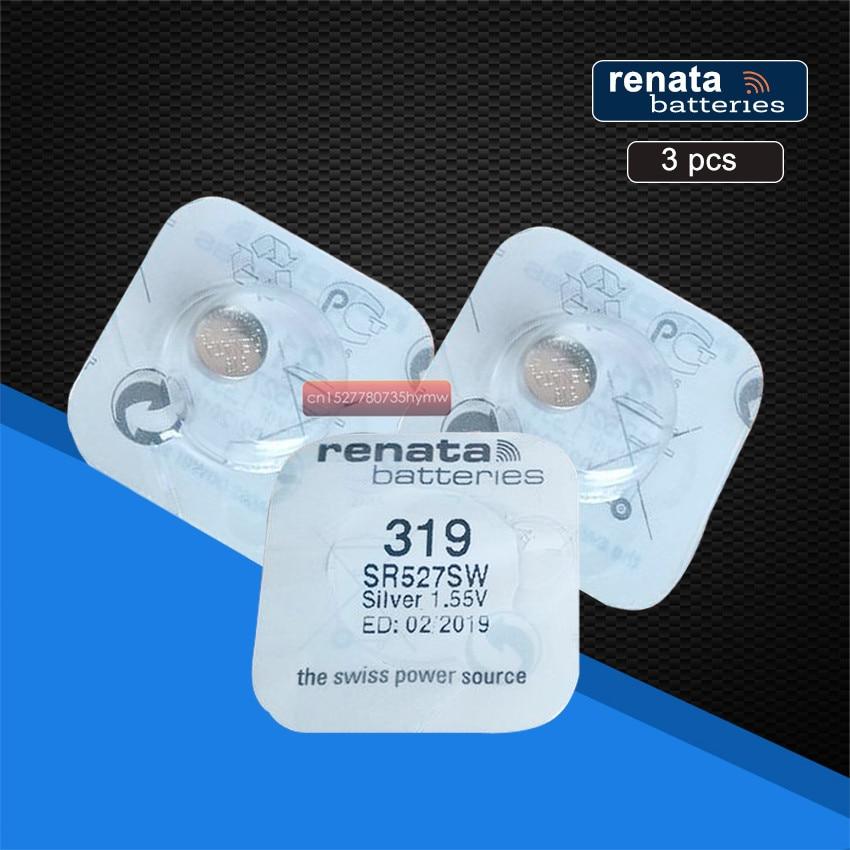 3pack renata Silver Oxide Watch Battery 319 SR527SW 527 1.55V 100% original brand renata 319 renata 527 battery