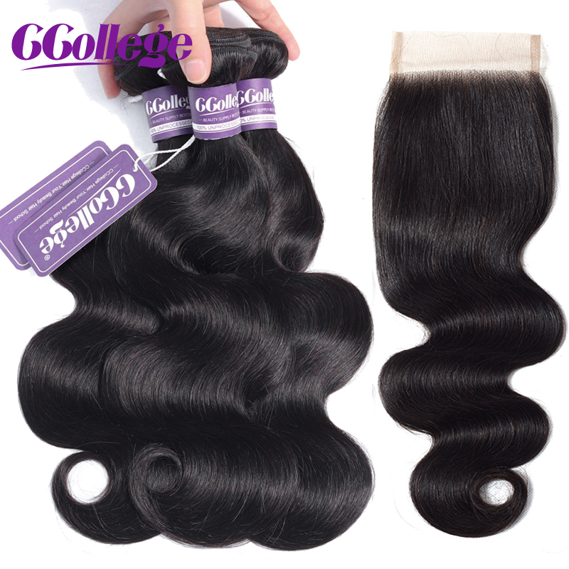 Ccollege Human Hair Body Wave Bundles With Closure 3 Bundles Brazilian Hair Weave With Lace Closure