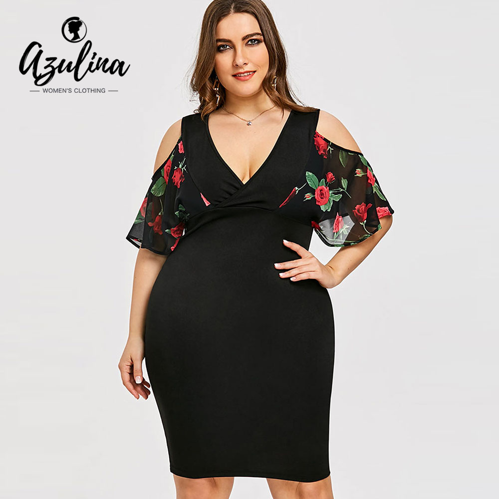 AZULINA Plus Size Rose Print Cold Shoulder Dress Women Clothing Summer V Neck Half Sleeves Bodycon Dresses Party Dress Vestidos