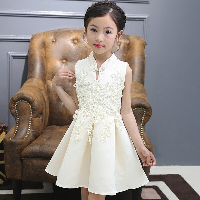 Ethnic Chinese Modern cheongsame qipao kids 3 5 6 7 8 9 10 11 12 years girl clothes princess dress flower elegant sweet party Платье