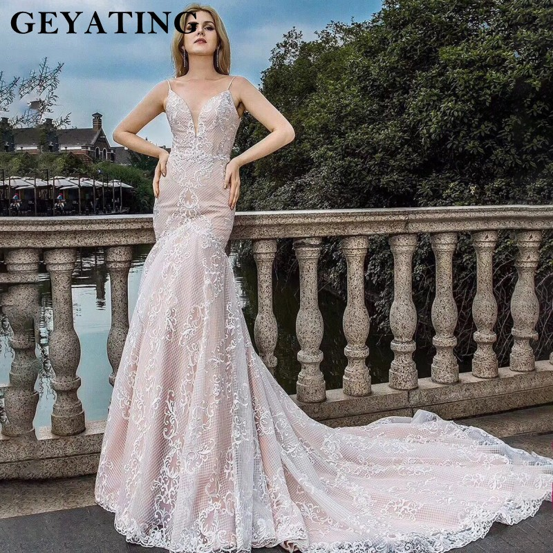 Lace Wedding Gowns With Straps: Vintage Lace Wedding Dress Mermaid Bridal Dresses 2019