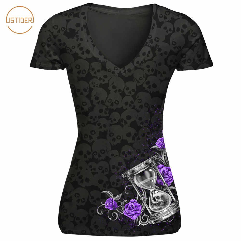 ISTider Harajuku новый панк-рок Для женщин футболки цветы бабочки черепа печати прикольные футболки лето тонкий сексуальный Футболки