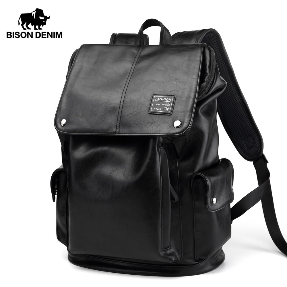 BISON DENIM Brand Men Backpack Waterproof Fashion PU Leather Travel Bag 15 inches Laptop School Bag